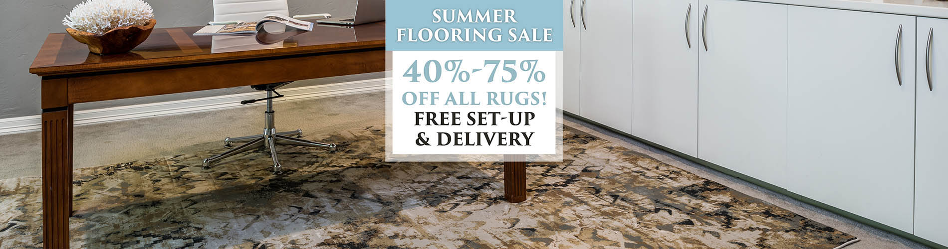 40-75% off all area rugs!  Free set-up and delivery available!