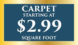 Carpet on sale starting at $2.99 sq.ft. with purchase of carpet and pad